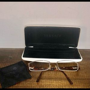 Versace Brown Tortoise Rectangular Glasses